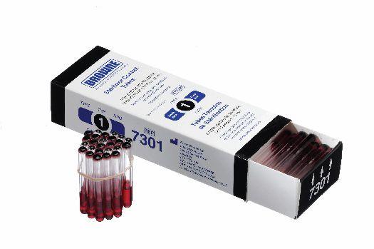 Autoclave indicator tubes, Black spot, 121ºC/15 mins