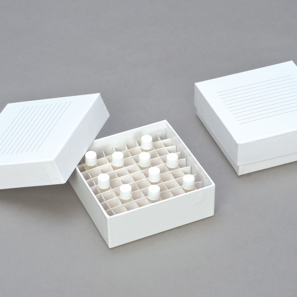 Cryo box 100 place white cardboard with grid 3 inch