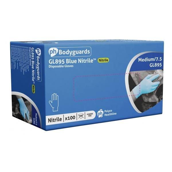 Nitrile gloves, powder free, blue, large, Bodyguards