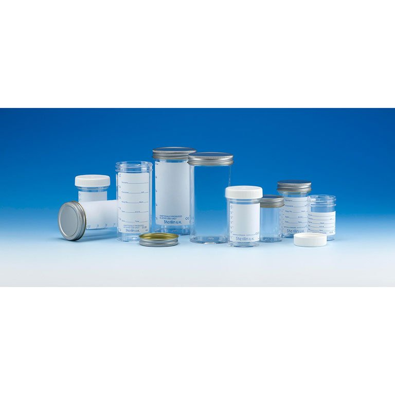 250ml Container, printed label, metal cap, tray packed, Sterilin
