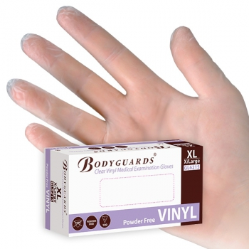 Vinyl gloves, powder free, non-medical, small, Bodyguards
