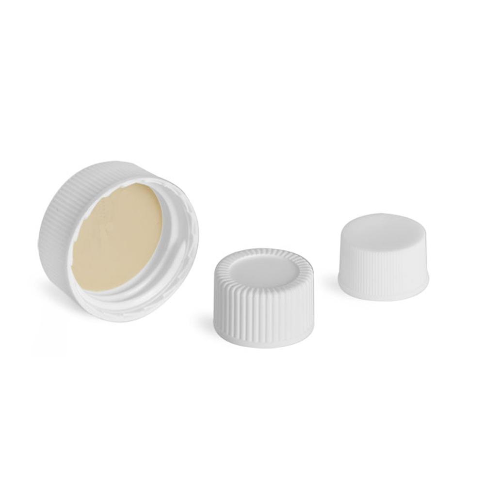 R318 White wadless polypropylene screw caps