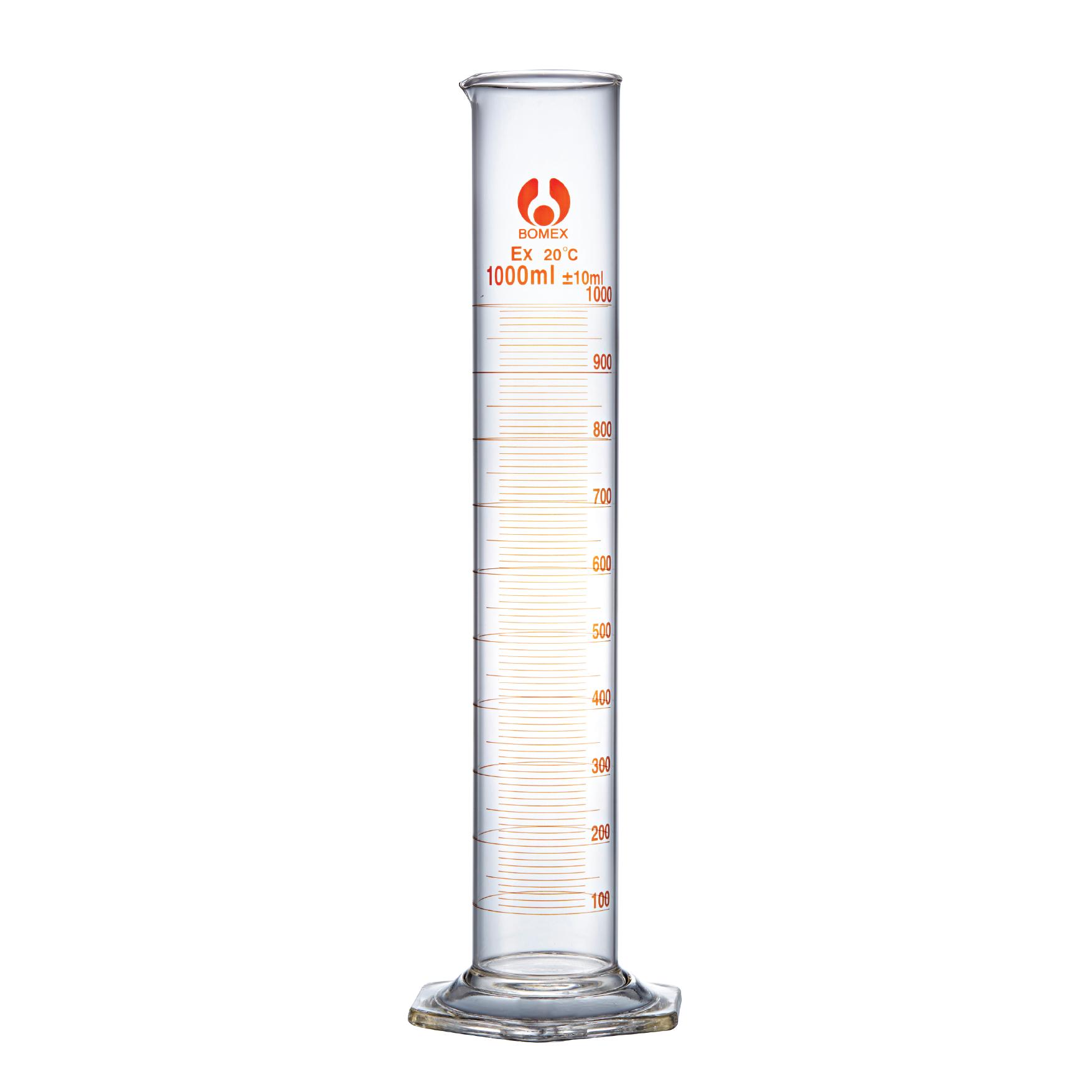 250ml Borosilicate glass measuring cylinder, pack 4