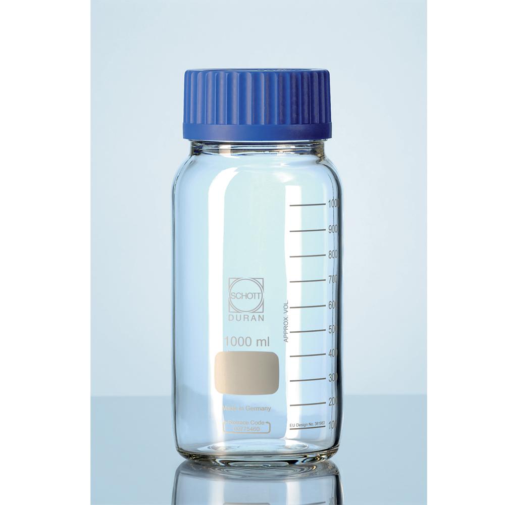 250ml Glass reagent bottle, cap & p/ring, Duran