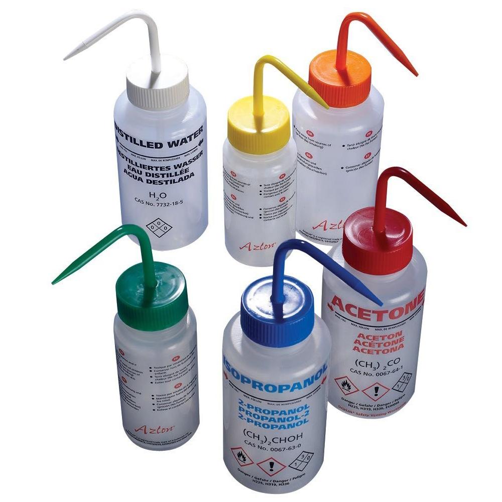 500ml LDPE wash bottle, non-venting, wide neck, methanol, green PP closure, Azlon