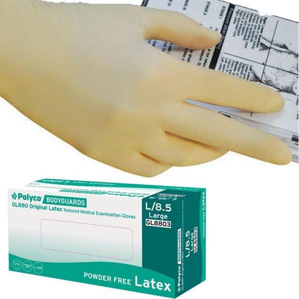 Latex gloves, powder free, large, Bodyguards