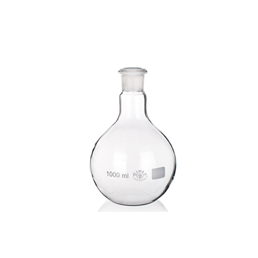 250ml Jointed borosilicate glass flask, round bottom, short neck, socket size 34/35 (6)