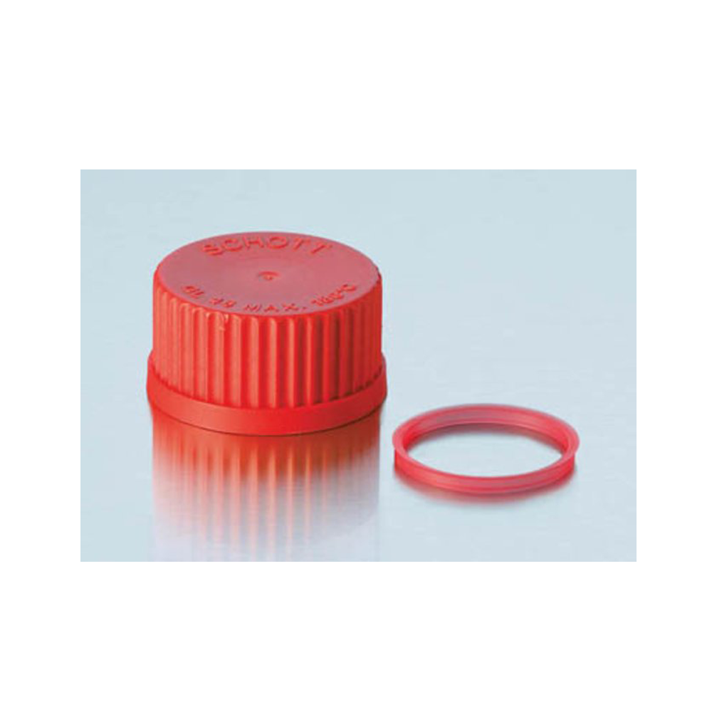 Red plastic screwcap, GL25, Duran