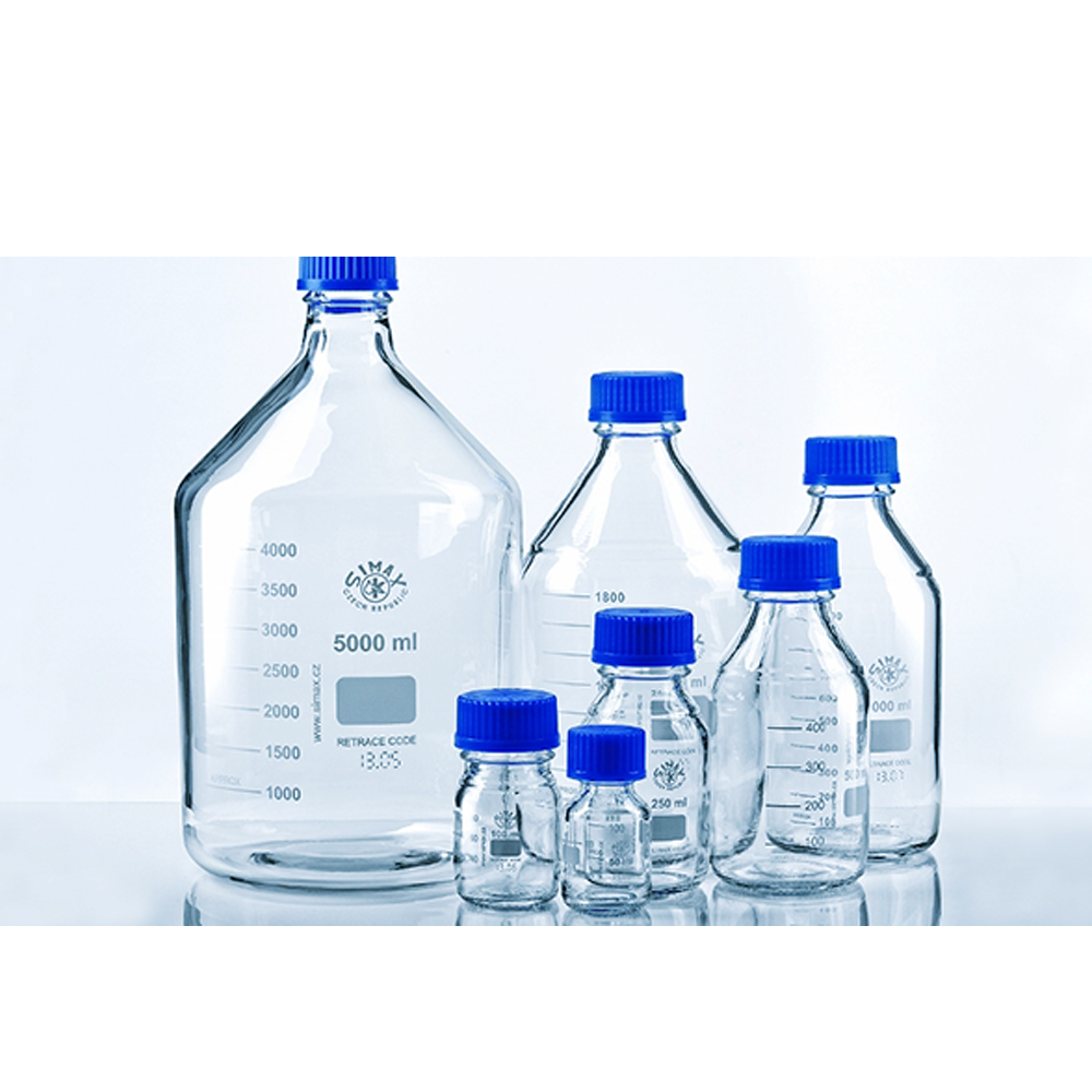 250ml Glass reagent bottle, cap & p/ring, Simax
