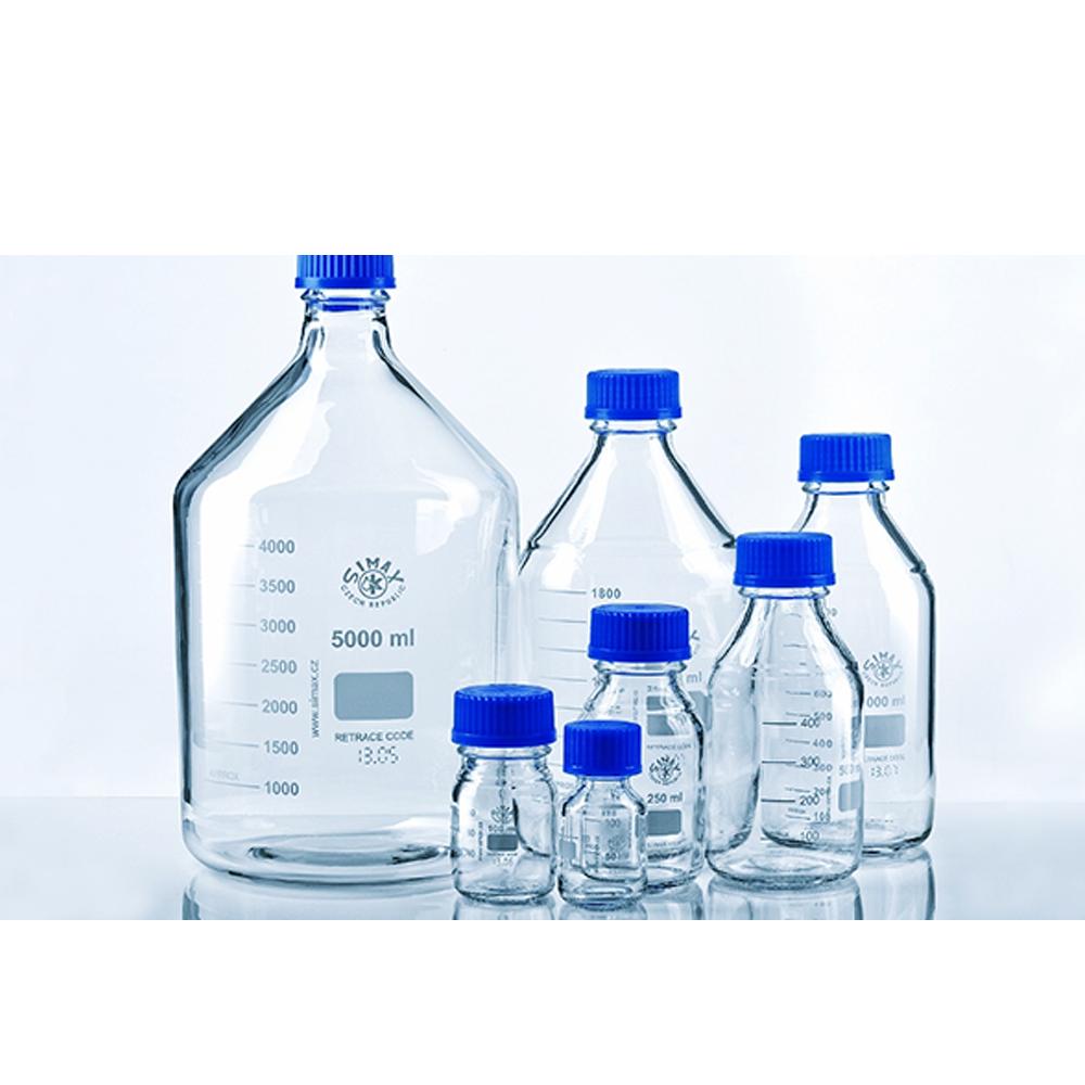 250ml Glass reagent bottle, cap & p/ring, Amber, Simax