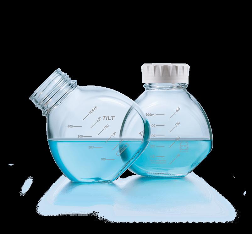 500 ml TILT bottle, clear, graduated, GL 56, with white screw-cap (PP), non-sterile, Duran