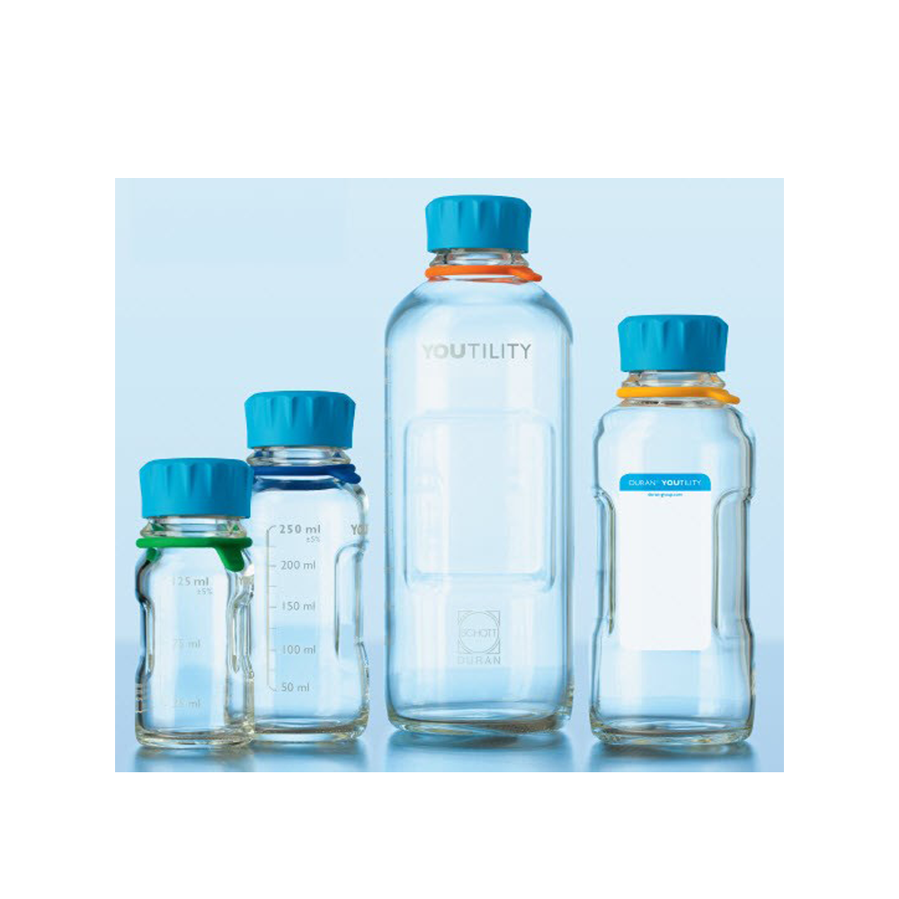 500 ml YOUTILITY bottle, clear, graduated, GL 45, with cyan screw-cap, pouring ring (PP), Duran