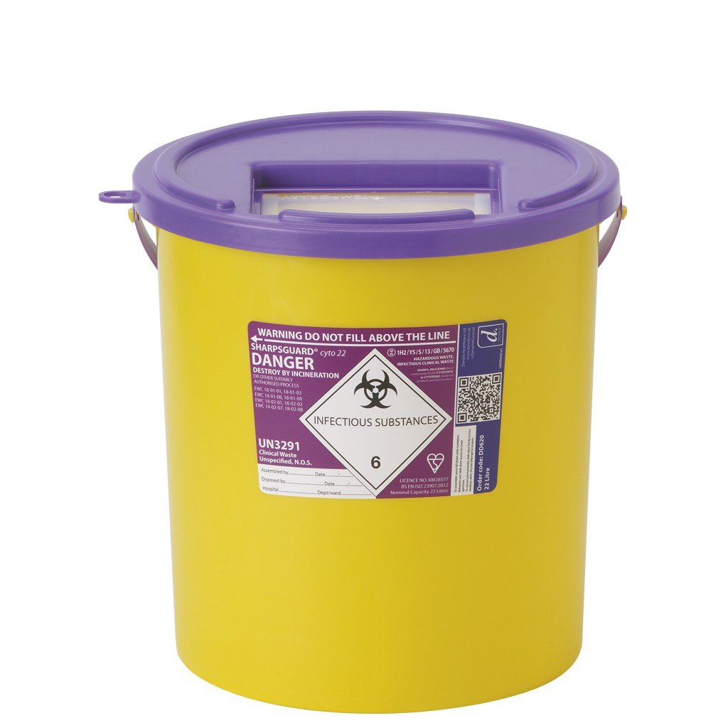 Daniels Sharpsguard Orange Containers, Extra Access Lid, 22L