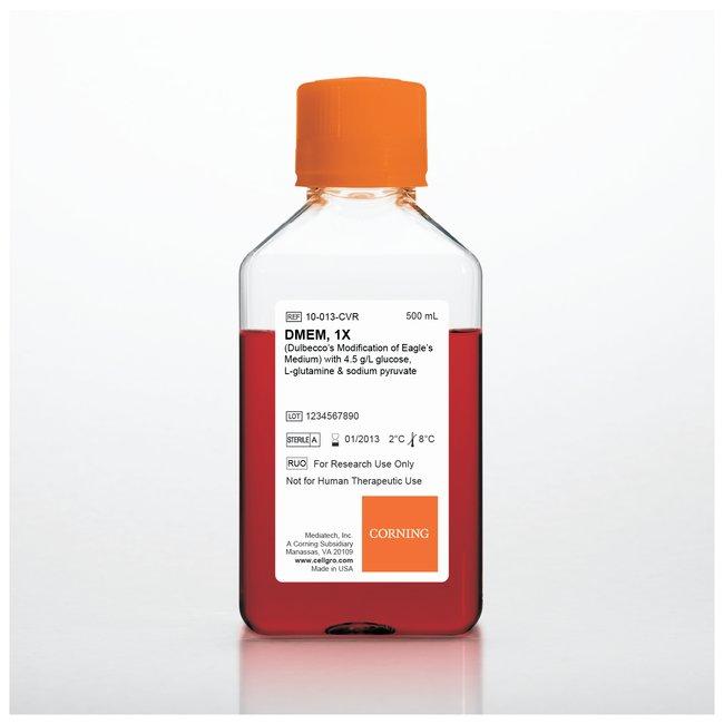 DMEM, powder, 4.5g/L-glucose, L-glutamine, (-) sodium pyruvate, sodium bicarbonate, 10L, Corning