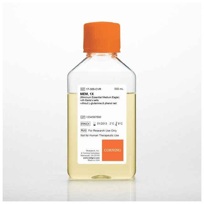 MEM, Powder, with Earle's salts, without L-glutamine, phenol red or sodium bicarbonate, 10 litres
