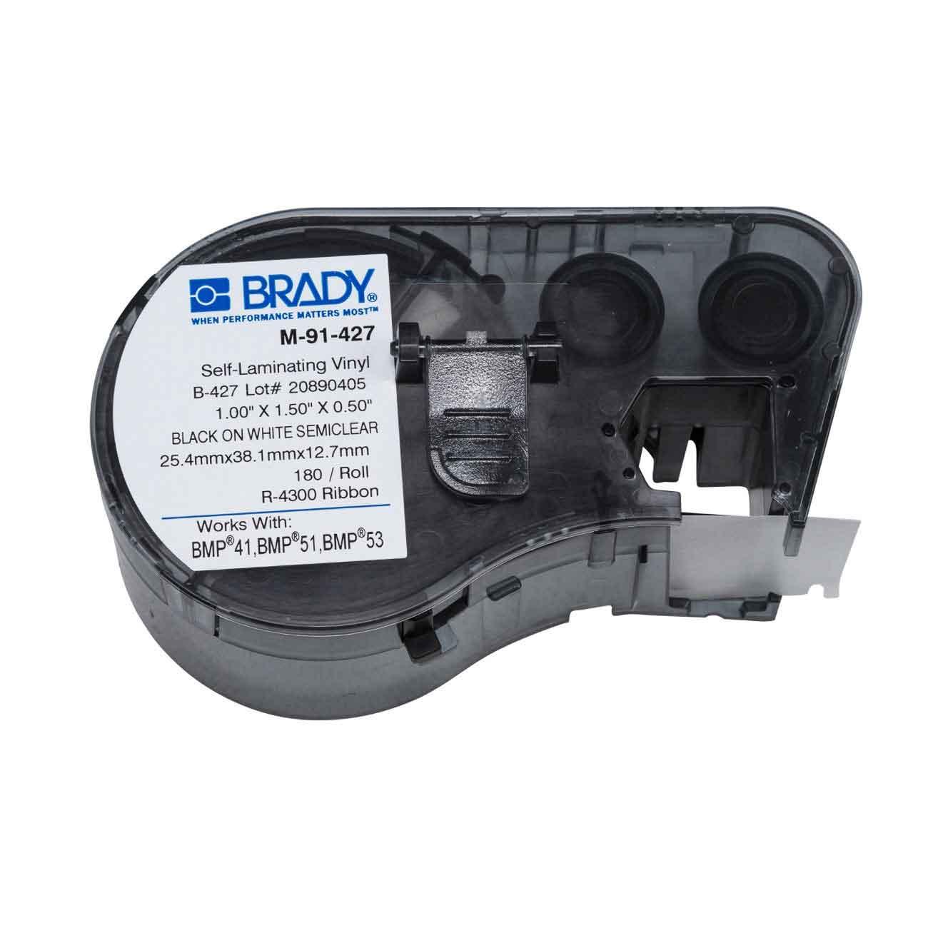 Thermal Transfer Printable Translucent Vinyl Tape, 38.1 x 44.45mm, BMP51 (x140)