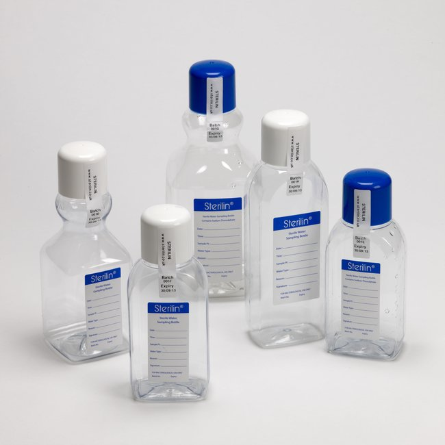 500ml Square PET Water Sampling Bottle with Sodium Thiosulphate (120mg/L), Sterilin
