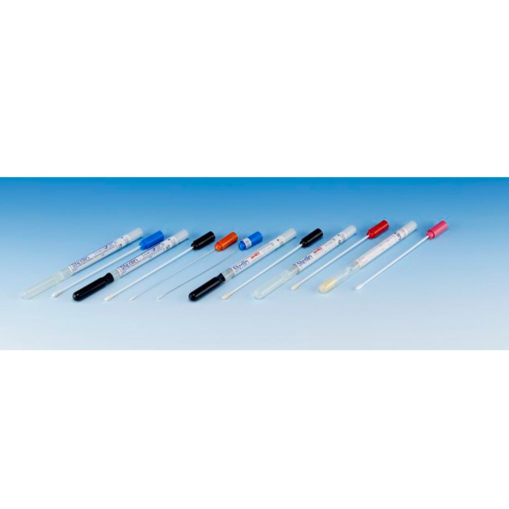 Transport swab, plastic shaft, synthetic tip, Amies