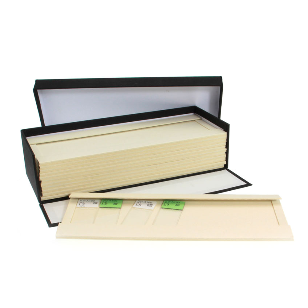 Cloth covered microscope slide tray box, 8 wood pulp trays