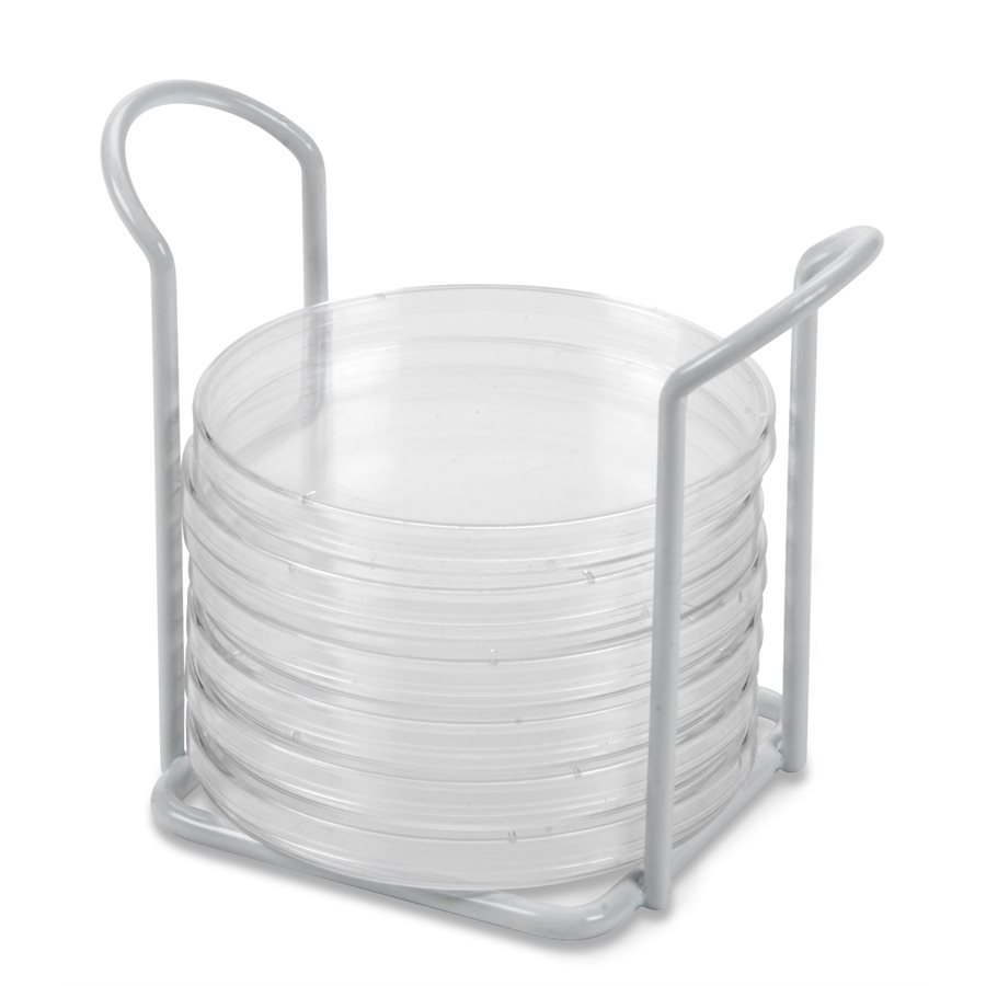 Petri dish rack, white, holds 6 dishes